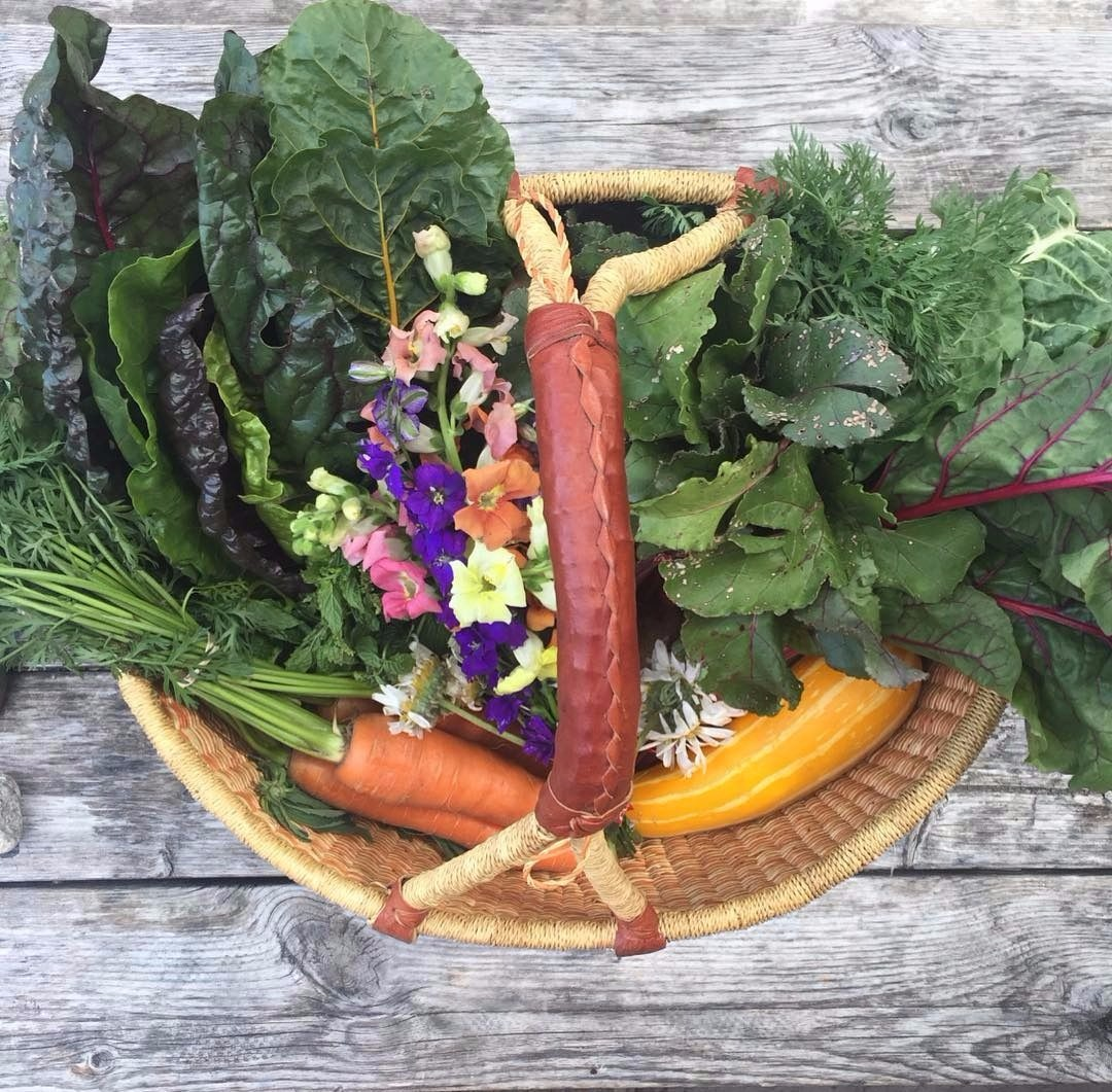 A woven basket full of colourful vegetables, greens and flowers.