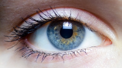 Close up view of a woman's blue eye