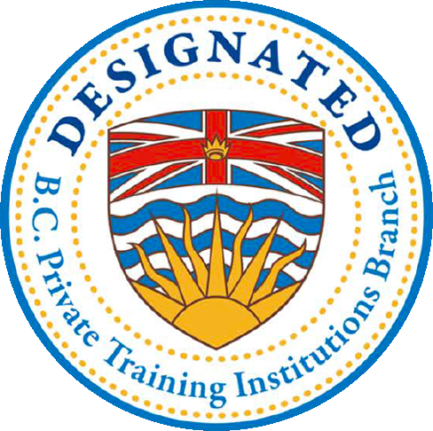 A badge, indicating the Vancouver campus is designated as a BC Private Training Institutions Branch
